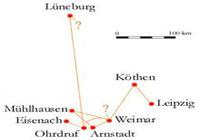 BACH, SES VOYAGES Un long périple d'Eisenach à Leipzig…